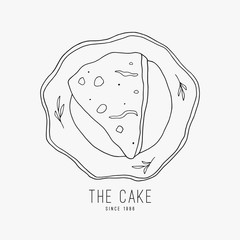 Doodle piece of pie on the plate line art. Cake on the plate hand drawn vector illustration. Sweet shop logo