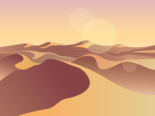 Gold desert in sunset. Sand dunes. Landscape design vector illustration. Middle East desert mountains sandstone background. Sand in nature