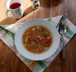 Hearty lentil soup with chicken
