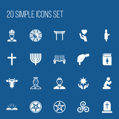 Set Of 20 Editable Religion Icons. Includes Symbols Such As Holy Bull, Orison, Hanukkah And More. Can Be Used For Web, Mobile, UI And Infographic Design.