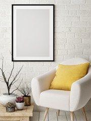 Mock up poster in Nordic interior design concept, comfortable sofa, yellow pillow, poster on white brick wall. 3d illustration