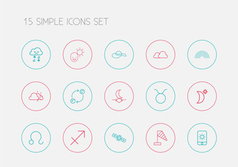 Set Of 15 Editable Air Outline Icons. Includes Symbols Such As Rainbow, Sputnik, Sun In Display And More. Can Be Used For Web, Mobile, UI And Infographic Design.
