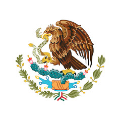 Mexico coat of arms, official colors and proportion correctly. National Mexico coat of arms. Vector illustration