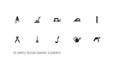 Set Of 10 Editable Instrument Icons. Includes Symbols Such As Dowel, Pliers, Sheave And More. Can Be Used For Web, Mobile, UI And Infographic Design.
