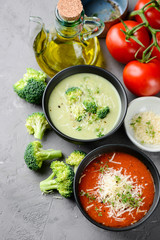 Assortment of vegetable cream soup