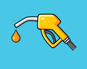 Yellow fuel pump nozzle and drop vector isolated. Gas filling station icon.