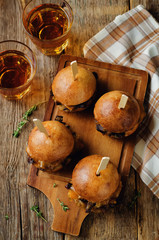 French Onion beef sliders with beer
