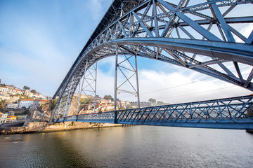 View on the famous Luis iron bridge during the morning light in Porto, Portugal