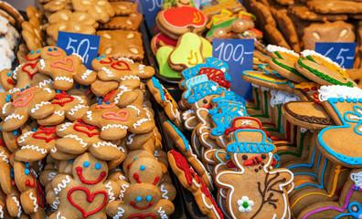 Christmas cookies on the stall.