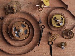 clock parts wood