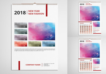 2018 Wall Calendar with Burgundy Accents