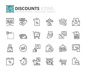 Outline icons about discounts