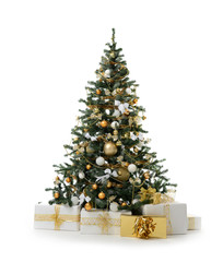 Decorated Christmas tree with golden patchwork ornament artificial gold balls and big gift presents for new year