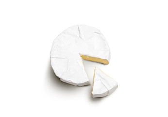 Fresh slice Camembert cheese natural on white background