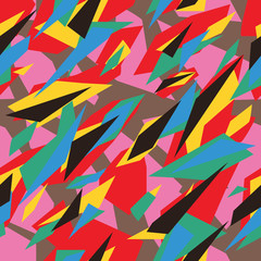 Seamless futuristic fashion red green blue pink yellow brown and black sharp edges camo pattern vector