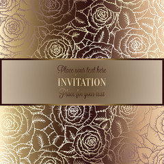 Abstract background with rosesand vintage frame