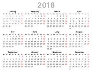 2018 year annual calendar monday first english