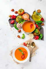 Tomato pepper soup gazpacho with garlic