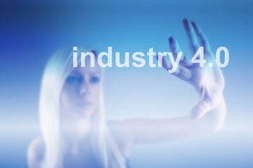Industry 4.0 concept, woman and robot background