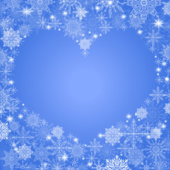 christmas background with an empty heart in the center transparent blue