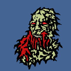 Scary head of zombie with red blood. Vector illustration.
