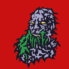 Scary head of zombie with bleeding from the mouth of green mucus. Vector illustration.