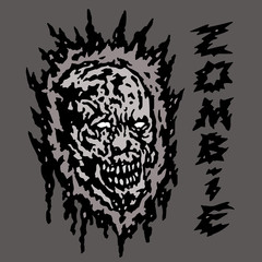 Creepy gray zombie head. Vector illustration.
