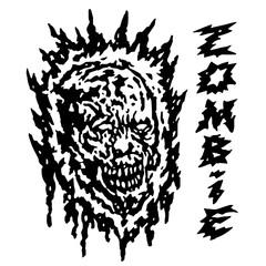 Creepy demon head. Vector illustration.