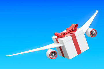 Gift delivery concept. Gift box with wings flying in the sky, 3D rendering