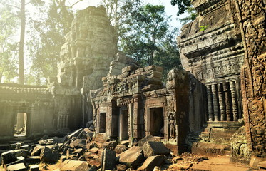 Poster Ruine Ancient ruins of Ta Prohm temple, Angkor Cambodia