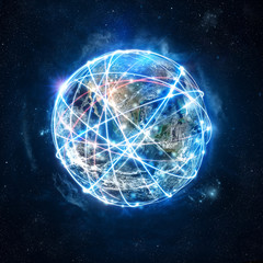 Concept of global internet connection network . World provided by Nasa