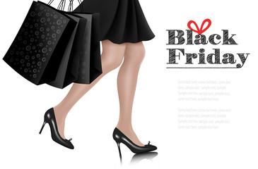 Black Friday sale background with elegant shopping woman and shopping bags. Vector