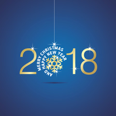 Happy New Year 2018 Christmas ball gold snowflake blue vector