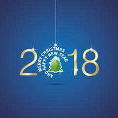 Happy New Year 2018 Christmas ball green tree blue vector