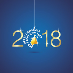 Happy New Year 2018 Christmas ball yellow bell blue vector