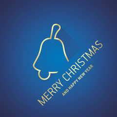 Merry Christmas New Year gold bell line logo icon blue greeting card