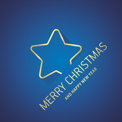 Merry Christmas New Year gold star line logo icon blue greeting card