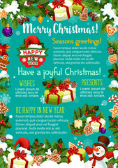Christmas New Year decoration vector greeting card