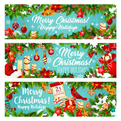 Christmas banner of New Year winter holiday gift