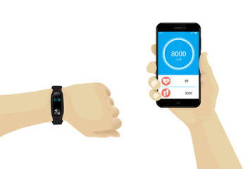 Fitness bracelet on hand with smartphone infographic. Heart rate tracker.