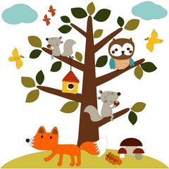 Autumn. Fall. Cute vector seamless pattern with forest animals. Squirrel, owl, birds and fox. All elements are hidden under mask. Pattern are not cropped and can be edited.