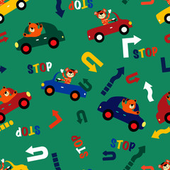 Funny cartoon tiger and a bear driving a cars on roads seamless pattern