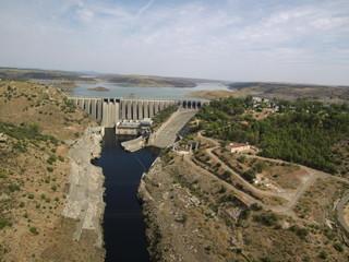 Puente romano de Alcántara, pueblo de Cáceres en Extremadura (España) situado en la orilla del río Tajo,  confluencia con el río Alagón, cerca de Portugal. Fotografia aerea con Drone