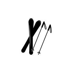 skis and a sticks icon. Simple winter games icon. Can be used as web element, playing design icon