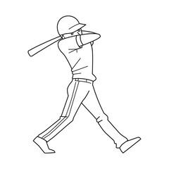 Vector illustration of a baseball player hitting the ball.