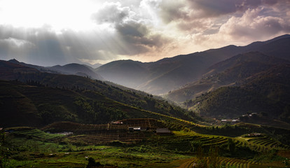 beautiful scenic of ricer terrace in sapa vietnam and sun light over sky