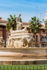 The Fountain of Seville on Puerta de Jerez square in Seville, Andalusia, Spain