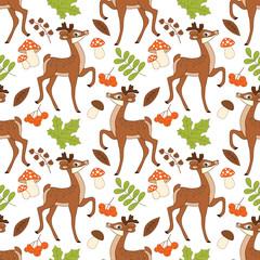 Vector Seamless Pattern with Cute Deers, Mushrooms, Berries  and Leaves