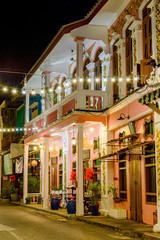 Small street in old town in Phuket town at evening, Thailand