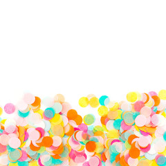Background of colorful paper confetti, holiday  concept